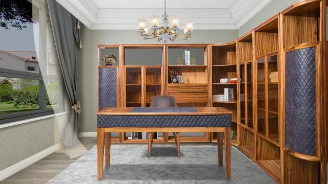 鹰星实木家具大气奢华书房装修