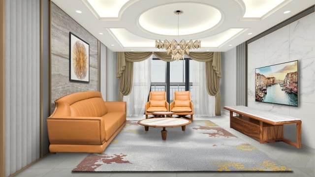 鷹星時尚橙色客廳家具設計效果
